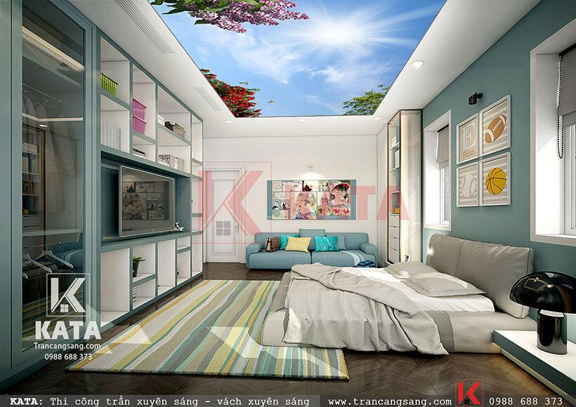 trần căng sáng phòng ngủ