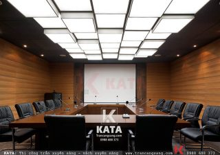 Mẫu thiết kế và thi công trần căng xuyên sáng văn phòng
