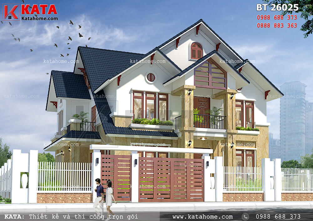 Mẫu thiết kế biệt thự đẹp 2 tầng tại Quảng Ninh (Nguồn ảnh: katahome.com)