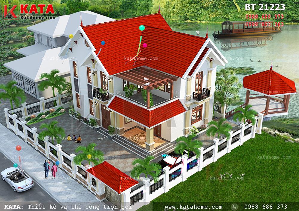 Nhà mái Thái 2 tầng đơn giản, hiện đại tại Thái Bình – Mã số: BT 21223