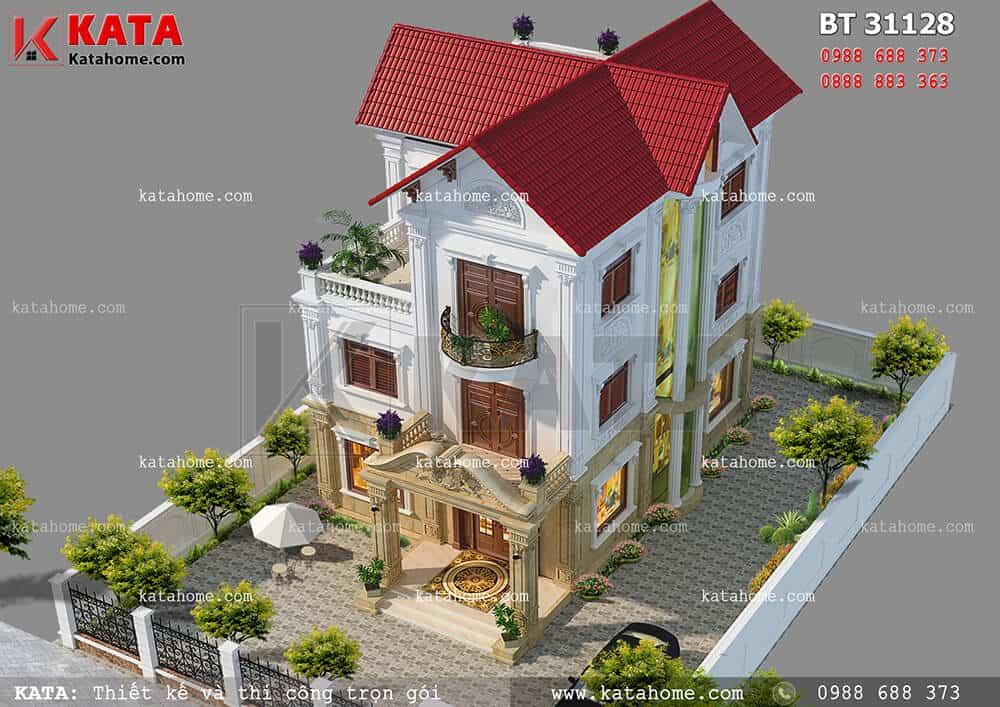 Mẫu thiết kế biệt thự tân cổ điển 3 tầng tại Yên Bái – Mã số: BT 31128 (Nguồn ảnh: https://katahome.com/thiet-ke-biet-thu/mau-biet-thu-tan-co-dien/)
