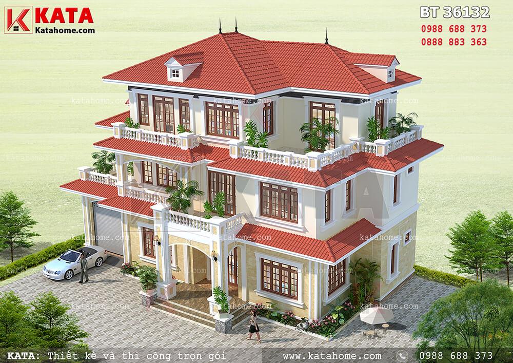 Mẫu nhà 3 tầng mái Thái đẹp tại Nam Định – Mã số: BT 36132