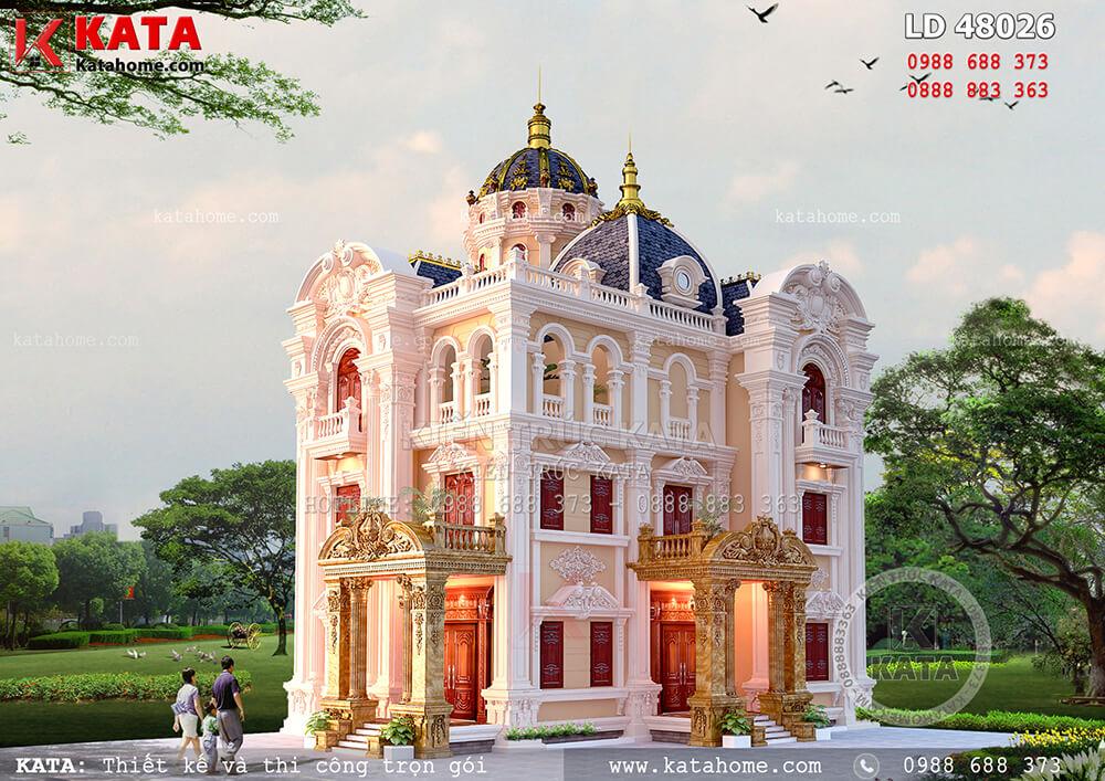Biệt thự kiểu lâu đài 3 tầng kiến trúc cổ điển Pháp – Mã số: LD 48026 (Nguồn ảnh: katahome.com)