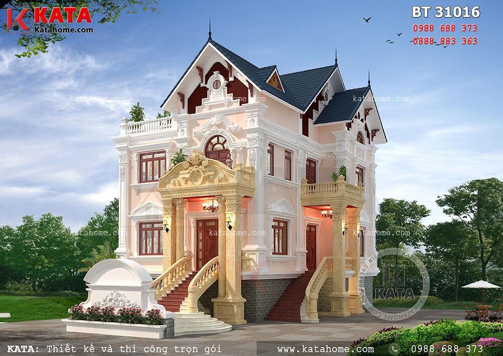Thiết kế nhà 3 tầng tân cổ điển đẹp tại Nam Định – Mã số: BT 31016 (Nguồn ảnh: Katahome.com)