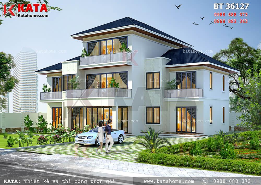 Mẫu nhà 2.5 tầng đẹp kiến trúc hiện đại tại Lai Châu – Mã số: BT 36127