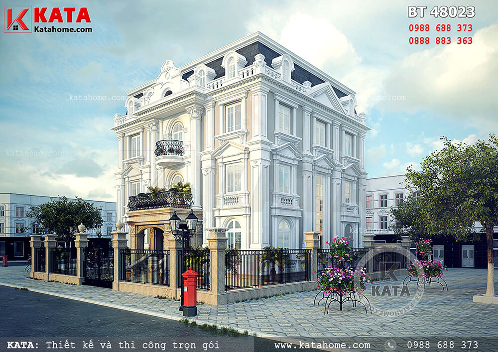 Thiết kế biệt thự đẹp 4 tầng tân cổ điển tại Quảng Ninh – Mã số: BT 48023 (Nguồn ảnh: katahome.com)