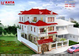 Mẫu thiết kế biệt thự kiểu Pháp 3 tầng đẹp tại Quảng Ninh – Mã số BT 36032 (Nguồn ảnh: https://katahome.com/)