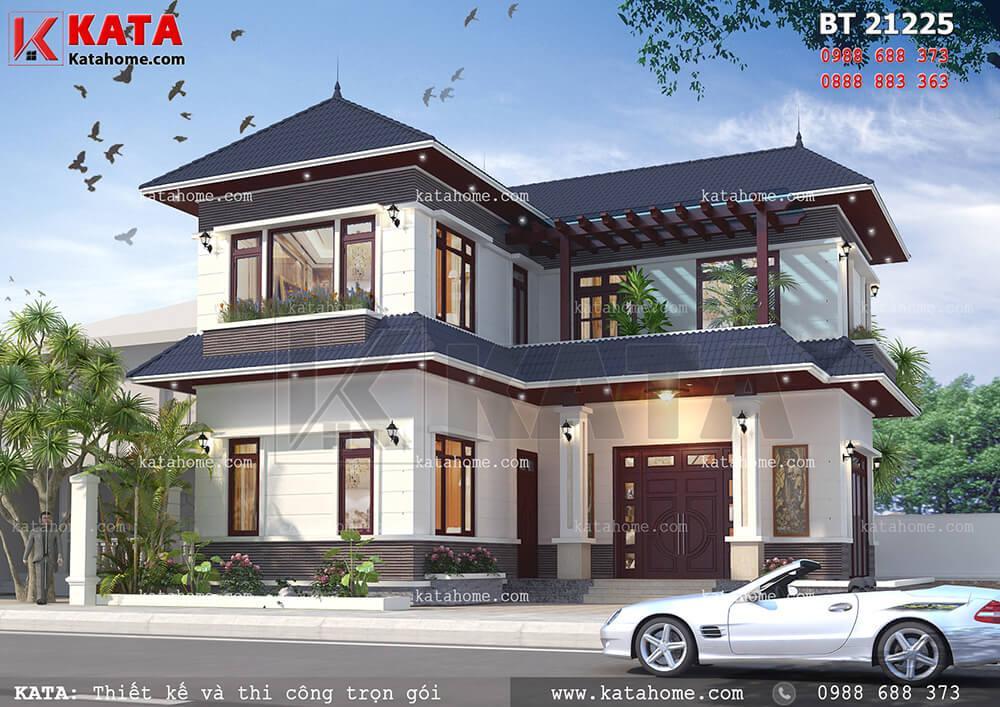 Thiết kế biệt thự 2 tầng chữ L mái thái tại Hòa Bình – Mã số: BT 21225 (Nguồn ảnh: katahome.com)