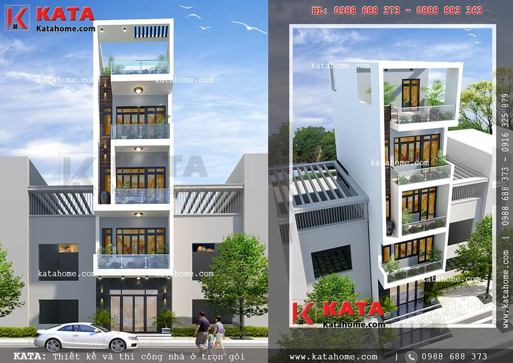 Mẫu thiết kế nhà phố 5 tầng đẹp 5x20m tại Cầu Giấy – Mã số: NP 55053 (Nguồn ảnh: Katahome.com)